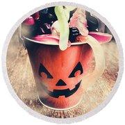 Pumpkin Head In A Misty Halloween Scene Round Beach Towel