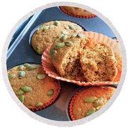 Pumpkin Muffins For You Round Beach Towel