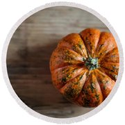 Pumpkin Round Beach Towel by Nailia Schwarz