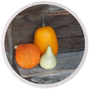 Pumpkin On A Bench Round Beach Towel by Catherine Gagne