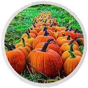 Pumpkin Patch Round Beach Towel by Dale R Carlson