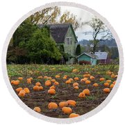 Pumpkin Patch By Farm House In Oregon Round Beach Towel