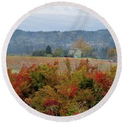 Pumpkin Patch Farm In Oregon Round Beach Towel