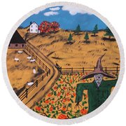 Pumpkin Patch Scarecrow Round Beach Towel