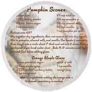 Pumpkin Scones Recipe Round Beach Towel