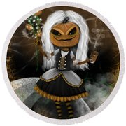 Pumpkin Spice Latte Monster Fantasy Art Round Beach Towel