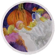 Round Beach Towel featuring the painting Pumpkin Still Life by Beverley Harper Tinsley