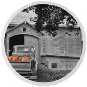 Pumpkin Truck Round Beach Towel