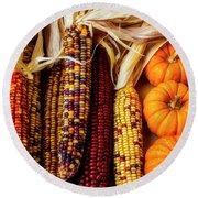 Pumpkins And Indian Corn Round Beach Towel