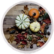 Pumpkins And Leaves Round Beach Towel by Rebecca Cozart