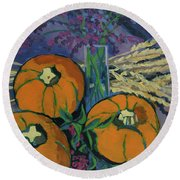 Round Beach Towel featuring the painting Pumpkins And Wheat by Erin Fickert-Rowland
