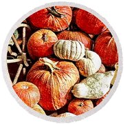 Pumpkins In The Barn Round Beach Towel by MaryLee Parker