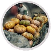 Pumpkins In The Cart  Round Beach Towel by Charuhas Images