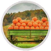 Pumpkins On A Wagon Round Beach Towel