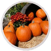 Round Beach Towel featuring the mixed media Pumpkins- Photograph By Linda Woods by Linda Woods