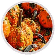 Pumpkins With Warts Round Beach Towel