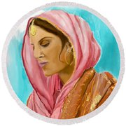 Punjabi Beauty Punjaban Round Beach Towel
