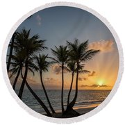 Round Beach Towel featuring the photograph Punta Cana Sunrise by Adam Romanowicz