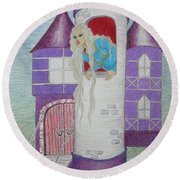 'punzel -- Portrait Of Storybook Character Rapunzel Round Beach Towel