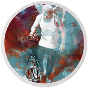 Round Beach Towel featuring the painting Puppet Man 003 by Gull G