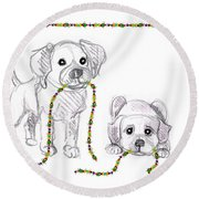 Puppies Greeting Card Round Beach Towel