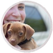 Puppy And Smiles Round Beach Towel