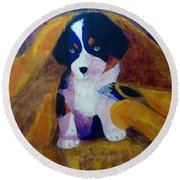 Round Beach Towel featuring the painting Puppy Bath by Donald J Ryker III