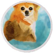 Puppy Dog Eyes Round Beach Towel by Meryl Goudey