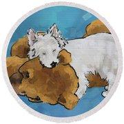 Puppy Love Round Beach Towel by Debra Baldwin