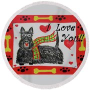 Round Beach Towel featuring the painting Puppy Love by Diane Pape
