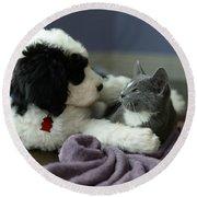 Puppy Love Round Beach Towel by Linda Mishler