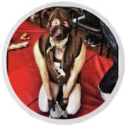 Round Beach Towel featuring the photograph Puppy Play. Human Canine Training by Mr Photojimsf