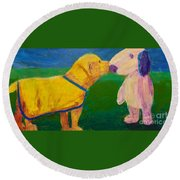 Round Beach Towel featuring the painting Puppy Say Hi by Donald J Ryker III
