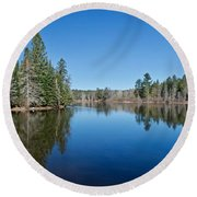 Pure Blue Waters 1772 Round Beach Towel by Michael Peychich