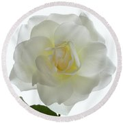 Pure White Rose Round Beach Towel