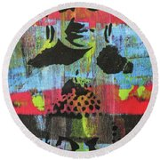 Round Beach Towel featuring the painting Purifying The Heart by Jayime Jean
