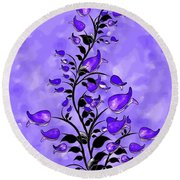 Purple Abstract Flowers Round Beach Towel
