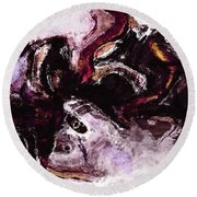 Round Beach Towel featuring the painting Purple Abstract Painting / Surrealist Art by Ayse Deniz