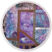 Purple Abstract Round Beach Towel