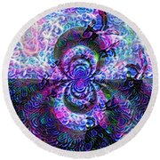 Purple Abstraction Round Beach Towel