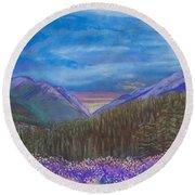 Purple Alaska Round Beach Towel