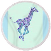 Purple And Aqua Running Baby Giraffe Round Beach Towel
