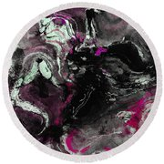 Round Beach Towel featuring the painting Purple And Black Minimalist / Abstract Painting by Ayse Deniz
