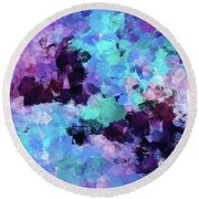 Round Beach Towel featuring the painting Purple And Blue Abstract Art by Ayse Deniz
