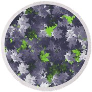 Purple And Green Leaves Round Beach Towel by Methune Hively