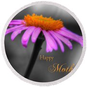 Round Beach Towel featuring the photograph Purple And Orange Coneflower Happy Mothers Day by Shelley Neff