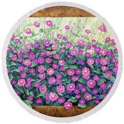 Purple And Pink Flowers Round Beach Towel