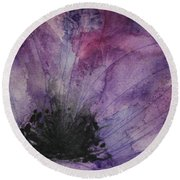 Purple Anemone 2 Round Beach Towel by Marna Edwards Flavell