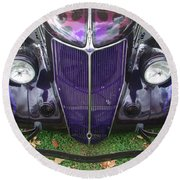 Purple Antique Ford Round Beach Towel