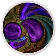 Round Beach Towel featuring the digital art Purple Anyone by Deborah Benoit